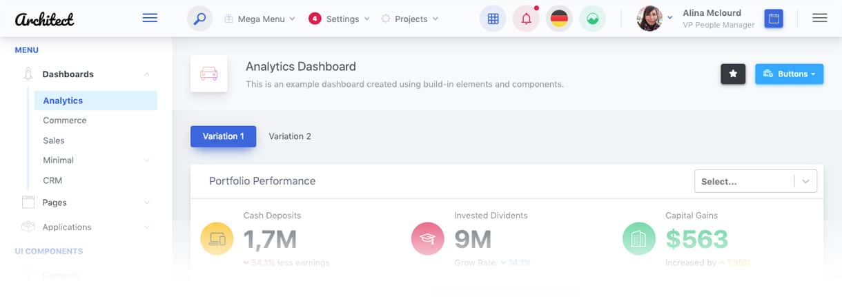 ArchitectUI React Dashboard Free