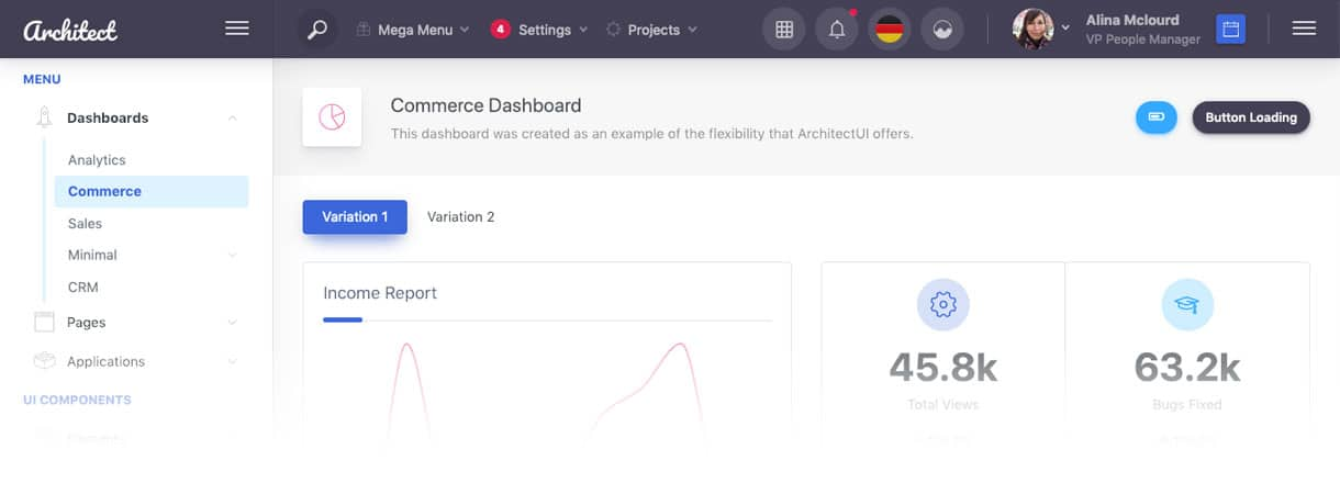 ArchitectUI Dashboard Vue Free